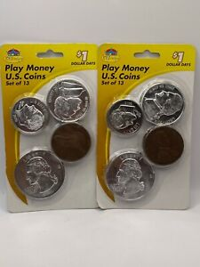 2 Packs of New Play Money U.S. Coins 13 Coins each 26 Coins Total