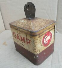 More details for vintage camp coffee advertising string tin with cutter