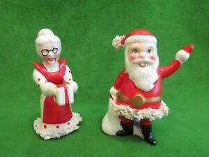 Vintage Kreiss Santa & Mrs. Claus Spaghetti Trim Salt and Pepper Shakers