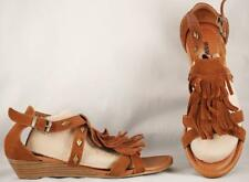 Women's Minnetonka Brown Suede Leather Fringe Low Wedge sandals 7