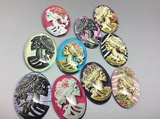 Sugar Skull Lady Skeleton Cameo Domed Glass Oval Cabochons, Mixed Colour x10 pcs