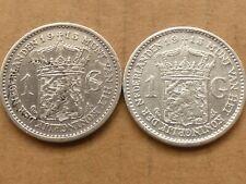 2 x 1 gulden, Wilhelmina, beide 1913, zilver, diverse kwaliteiten