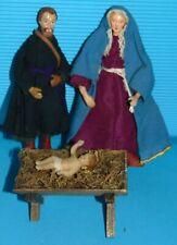3 personnage Santon ancien -Poupée en CIRE/BOIS.. NOEL CRECHE ancien RELIGION