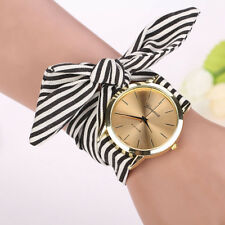 Fashion Women Ladies Stripes Cloth Band Bracelet Quartz Dress Wrist Watch Gifts