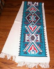 "Table Runner Bold Southwestern Geometric design 13""x72"" Canvas Teal 684A"