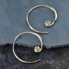 Bali Earrings Sterling Silver Swirl Circle Curled Hoop Bohemian Geometric 2604