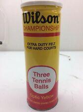 Wilson Championship 3 Yellow Tennis Balls, Vintage Extra Duty Felt In Metal Can