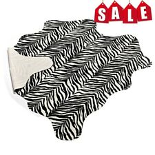 Animal Printed 5.2'x4.6' Zebra Hide Faux Fur Rug Mat Carpet Blanket Washable #05