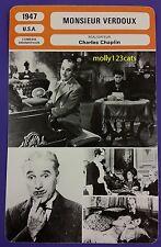 US Black Comedy Movie Monsieur Verdoux Charlie Chaplin French Film Trade Card