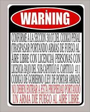 "2 Texas Open Carry Law business ""prohibited"" sign in Spanish 9""x12"" - 30.07"
