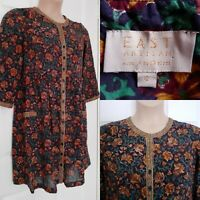 EAST ARTISAN WITH ANOKHI Indian Cotton Dark Floral Ethnic Dress Size 12