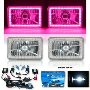"4X6"" Pink SMD Halo Glass / Metal Headlight 6000K 6K HID Light Bulb Headlamp Pair"
