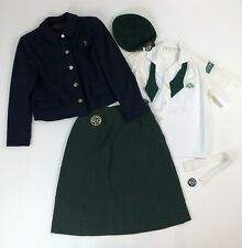 Early Vtg Girl Scout Outfit Uniform Wool Jacket Shirt Blouse Skirt Hat Patches