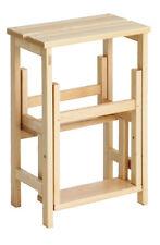 Scaletta sgabello pieghevole in legno 3 gradini Suegiù naturale Valdomo-Valway