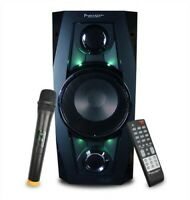 PORTABLE PARTY SPEAKER Bluetooth w FM Radio, Remote Control & Wireless Mic NEW
