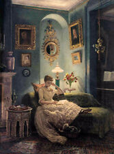 Oil painting Edward John Poynter - Bedroom at night nice young girl reading book