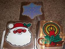 11-Vintage Hallmark Christmas Window Cling Decoration Gel 1983 Lot Mint Santa