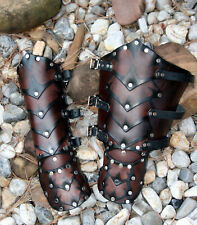 *RTS* Brown Leather Dragon's Belly Gauntlets arm Armor SCA LARP fantasy medieval