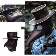 Steampunk Plague Doctor Cosplay Mask+Hat Costume Props Long Beak Full Face Mask