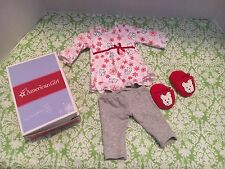 American Girl Cozy Coconut Pajama Set With Red Coconut Slippers Retired In Box