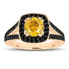 Enhanced Fancy Yellow Diamond Engagement Ring 14K Yellow Gold 1.56 Carat