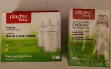 PLAYTEX BABY NURSER 3 PACK BABY BOTTLE WITH DROP INS DISPOSABLE LINERS +100 pack