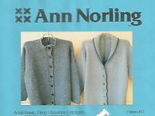 Adult Basic Drop Shoulder Cardigan Knitting Instruction Pattern Ann Norling