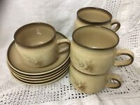 Set Of 5 Denby Stoneware Memories Tea Cups and Saucers