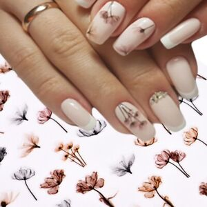 Nail Art Transfers Self Adhesive Decal Sticker, Flowers Tulips, Large Sheet