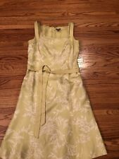 Ann Taylor Womens Dress Size  6Green White Floral Sleeveless   Silk lined
