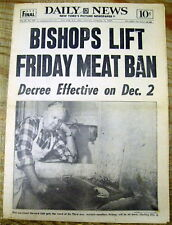 1966 NY Daily News newspaper CATHOLIC CHURCH RESCINDS its MEATLESS FRIDAY EDICT