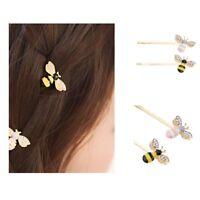2pcs femmes abeille en cristal strass pince à cheveux en épingle à
