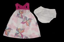 EUC Baby GAP Outlet Girls White & Pink Butterfly Dress & Diaper Cover 3-6 M