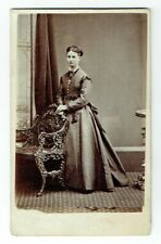 Victorian cdv photo young lady long dress standing Edinburgh photographer