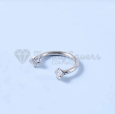 1x Surgical Steel Silver Tragus Crystal Labret Cartilage Nose Lip Helix Ear Ring