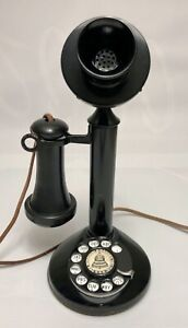 Rare Authentic 1920's Antique Dial Candlestick Black Telephone Working Condition