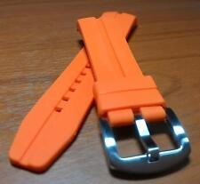 """22mm ORANGE Silicone Rubber Sport Diver Watch Strap Band """"Curved End"""" WC1283"""
