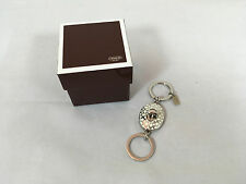 NWOT COACH Signature C White Embossed Turnlock Valet Key/Fob Chain Ring