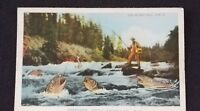 1943 British Columbia Canada Man Fishing in River Illustrated Postcard Cover