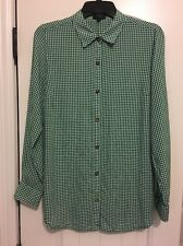 The Limited Women's Green White Gingham Button Down Shirt Top Size M Medium Tall