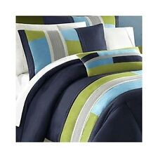 Queen Comforter Set Navy Blue Green Stripes Geometric Bedding Inexpensive Casual