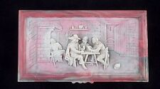 VTG Incolay Studios Pink White Cameo Stone Three Musketeers Tavern Bar Scene Box