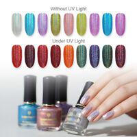 BORN PRETTY 6ml Light Sensitive Holographic Nail Polish Glitter Nail Varnish