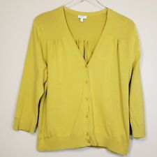 Talbots Cardigan Size XL Yellow Green Chartreuse V Neck Button Up Lightweight