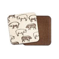 Pig Pattern Coaster - Pigs Farm Animal Farmer Butcher Sepia Drawing Gift #12362