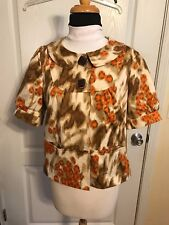 Womens Josephine Brown Beige Orange Foral Jacket Blouse Buttons at Top Sz 8P 8 P