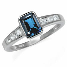 Solitaire with Accents Treated Fine Gemstone Rings
