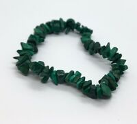 Vintage Bracelet Malachite Stretch Beads Green Chips