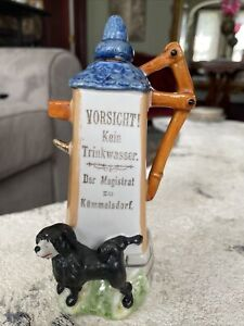 Vintage German Schafer & Vater Don't Drink The Water Whiskey Flask Germany 6.5""