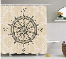 Ambesonne Ships Wheel Decor Shower Curtain Set